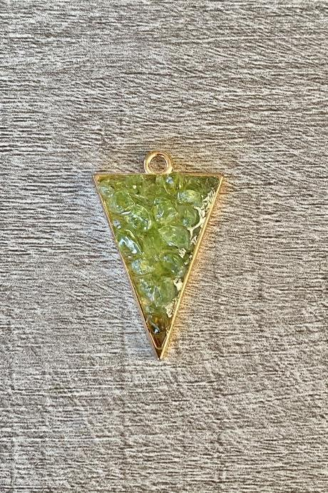 Lime Green Triangle Gemstone Resin Necklace