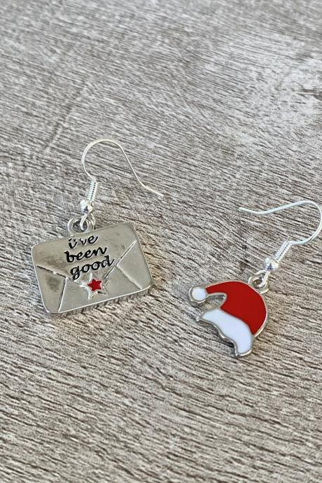 Santa Hat and Letter To Santa Mismatched Earrings