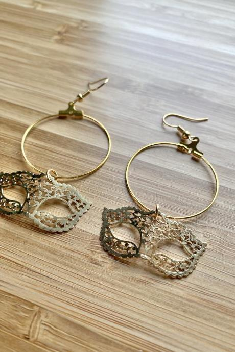 Masquerade Mask Hoop Earrings 18K Gold Plated