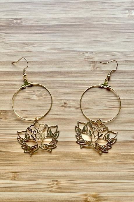 Elaborate Masquerade Mask Hoop Earrings 18K Gold Plated