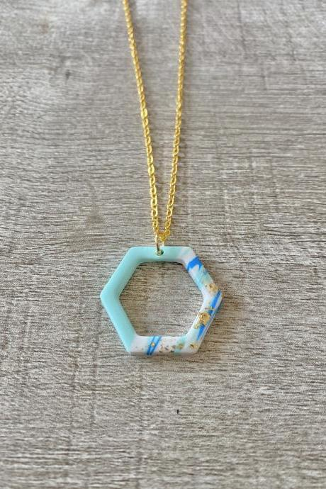 Geometric Blue Gold 18 Inch Necklace