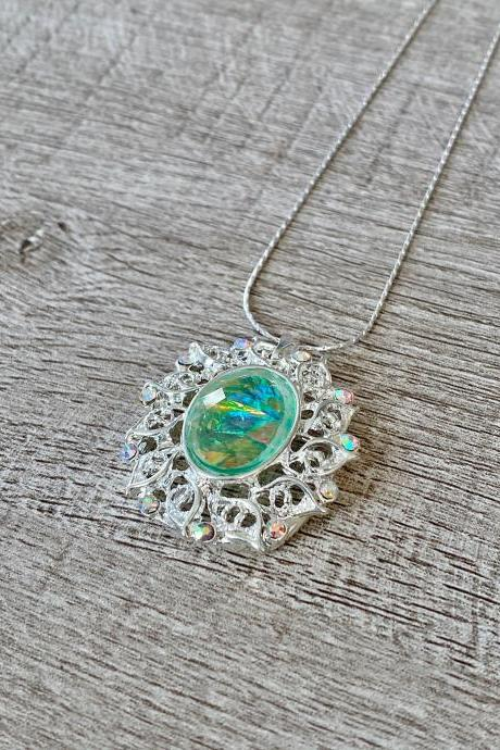 Iridescent Turquoise Pendant 18 Inch Necklace