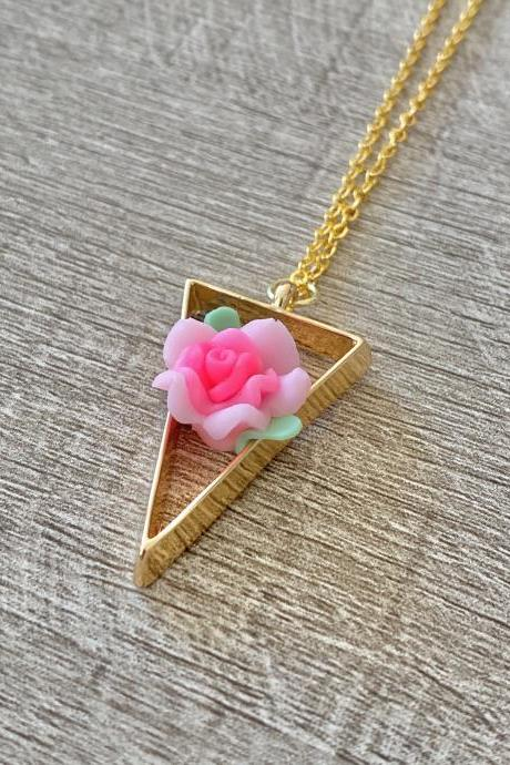 Pink Flower Triangle 18 Inch Necklace