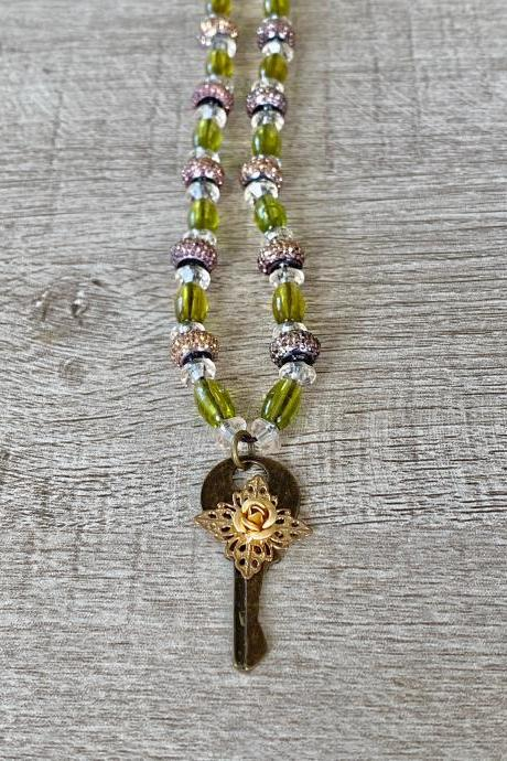 Green Lock and Key 18 Inch Necklace